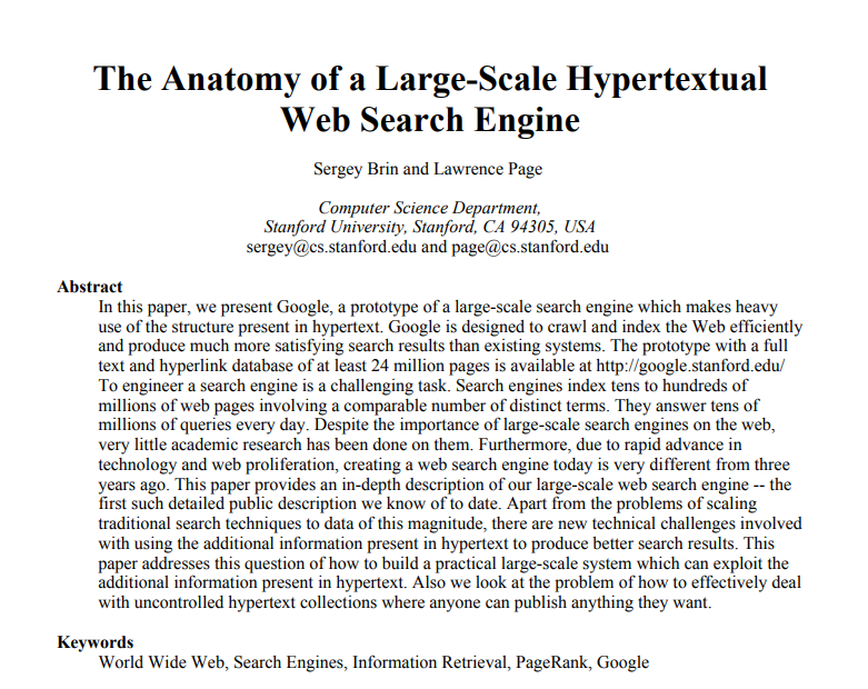 Anatomy of web search engine